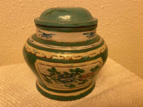 Old Chinese Enamel Yixing ZISHA Cover Vase Jar Tea Caddy Fortune Marked