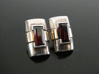 1920s Art Deco Jewelry: Earrings, Necklaces, Brooch, Bracelets Vintage Modernist Art Deco Style Faceted Red Garnet Pierced 925 Post Earrings  $35.00 AT vintagedancer.com