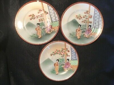Antique Japanese Hand Painted Ceramic Side Plates and Saucers