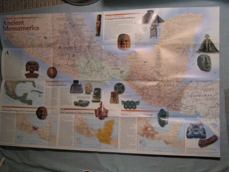ANCIENT MESOAMERICA MAP National Geographic December 1997 THE MESOAMERICANS Mint