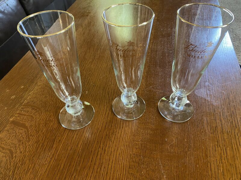 (3) Budweiser Tall Millieneum Beer Glasses
