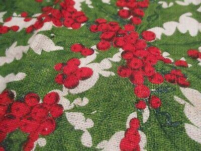Vintage Kay Dee 'Holly & Berry' Christmas Linen Tea Towel