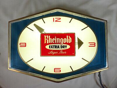 RARE Vintage 60's Rheingold Extra Dry Beer Bar Light & Clock - Man Cave Tavern