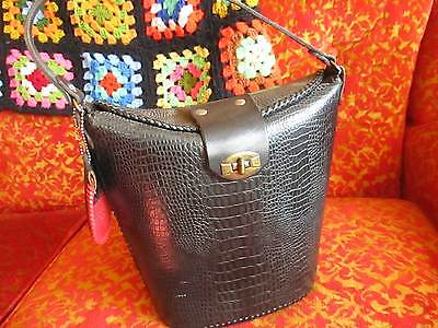 Vtg 60's MOD Box Style pin up Rockabilly Genuine leather FAUX GATOR hand bag
