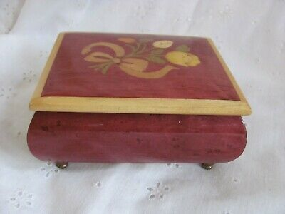 """Vintage Swiss Made """"Romance"""" Wood Inlay Music Box with Floral Bouquet"""