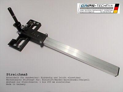 Streichmaß mit wechselbarem Stiftkopf, Versatzanreißer, 200 mm