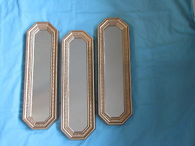 "Set 3 Home Interior Homco Gold Wall Mirrors/Hangings. 18"" Tall"