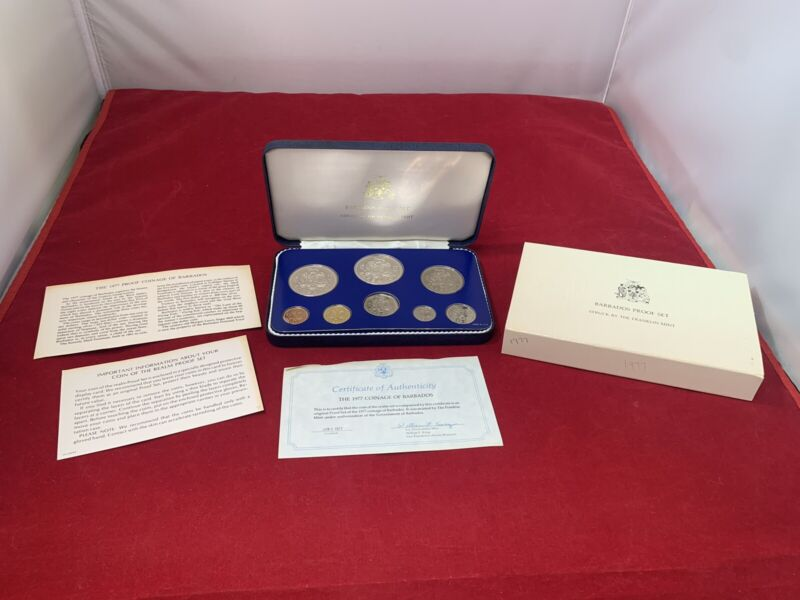 1977 Coinage Of Barbados Proof Set With COA