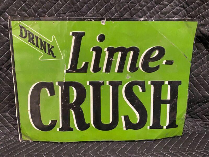 Original Vintage Lime Crush Metal Advertising Sign