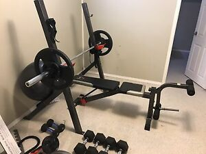 Olympic bar, weights, bench, dumbells - home gym