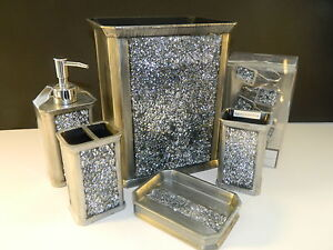 Luxury Silver Mosaic Bathroom Accessory Set Vanity Bath Decor EBay