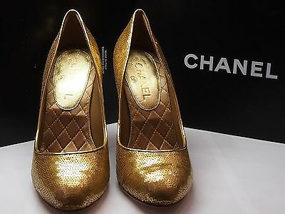 AUTHENTIC CHANEL PUMPS GOLD SHOES 7.5 US Size