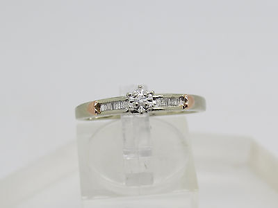 10k White Rose Gold Round ILLUSION Baguette Accent Diamond Heart Ring Size 8.75