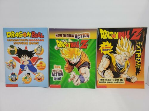 2002 Lot of 3 Dragon Ball Z Sticker and Activity Books