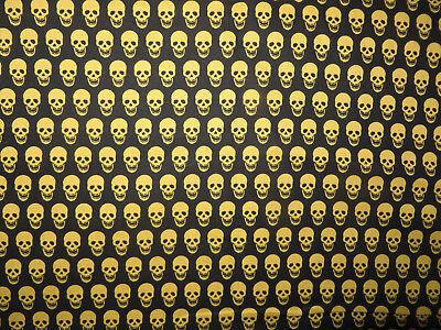 BTY Skeleton Faces All Over ~ Black & Gold JoAnn Fabric Creepy Scarey Halloween