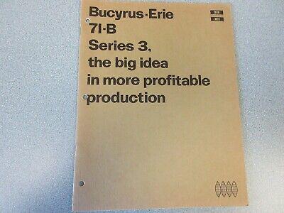 Rare Bucyrus-erie 71-b Crane Excavator Sales Brochure 1968