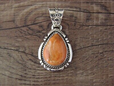 Navajo Indian Jewelry Sterling Silver Spiny Oyster Pendant by Samuel Yellowhair