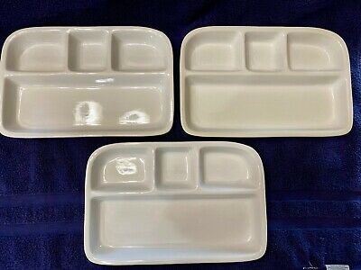 Bret Bortner-TV Tray-Divided Dish-Ceramic Heavy Stoneware-Set of 3-Picky Eaters, used for sale  Shipping to India