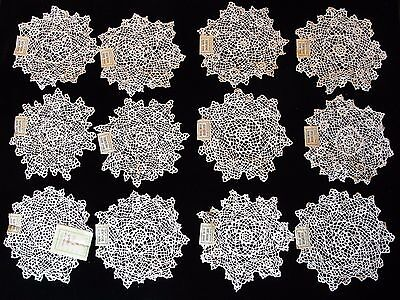 """12 VTG 5 1/2""""-6"""" HAND MADE COTTON LACE DOILIES NEW OLD STOCK 1940'S ONE DOZEN"""