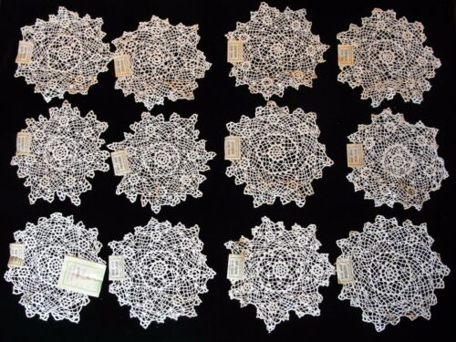 "12 VTG 5 1/2""-6"" HAND MADE COTTON LACE DOILIES NEW OLD STOCK 1940"