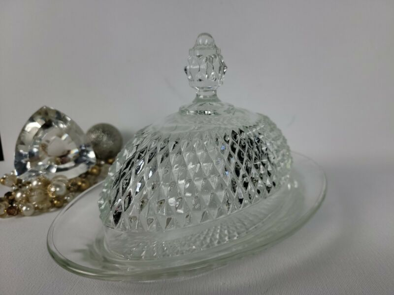 Vintage Indiana Cut Crystal Diamond Cut Oval Covered Butter Dish