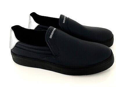 Emporio Armani Zapatillas Hombre Zapatos Calf Azul Medianoche Eu: 43 (9) Nuevo...