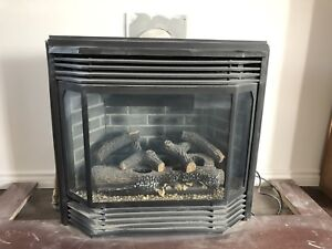 Gas side view fireplace with remote control and mantle