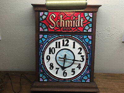 Vintage 1970's JACOB SCHMIDT BEER Lighted Sign & Clock ~ Stained Glass Look