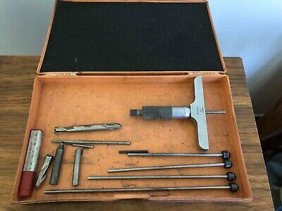 Vintage Mitutoyo .001 Depth Micrometer Gauge Set Made In Japan
