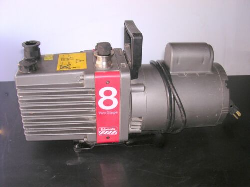 Edwards 8 E2M8 Rotary Vane Two Stage Vacuum Pump TESTED TO 7 micron 120v 6.9cfm