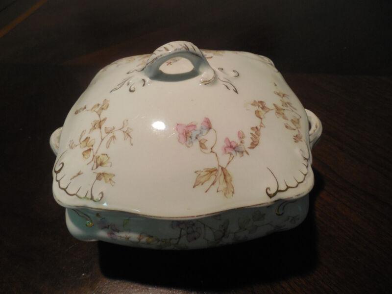 Antique RIDGWAYS ROYAL ENGLAND Semi-Porcelain Lidded Bowl Floral design Perfect