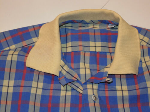 VINTAGE BEACH STYLE PLAID BUTTON SHIRT! LOOP POLO COLLAR! SHORT SLEEVE/POCKET! M