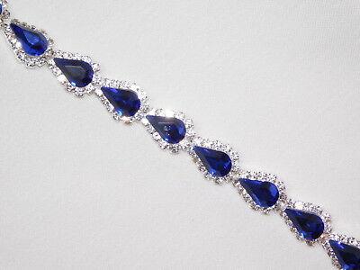 Clear Crystal Rhinestone Bracelet - Royal Blue & Clear Rhinestone Crystal Bridal Silver Bracelet /4101