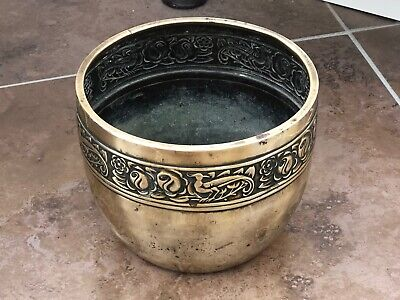 art nouveau ornate brass flower pot holder !