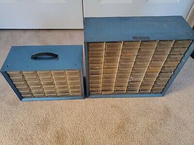 2 Vintage Akro Mils Metal Stacking Organizer Cabinets Blue 30 60 Drawer