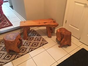 solid wood bench with 2 set