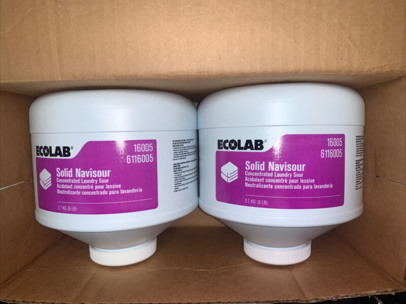 CASE 2 ECOLAB 16005 Solid Navisour Concentrated Laundry 6 Lb Container BLOCKS