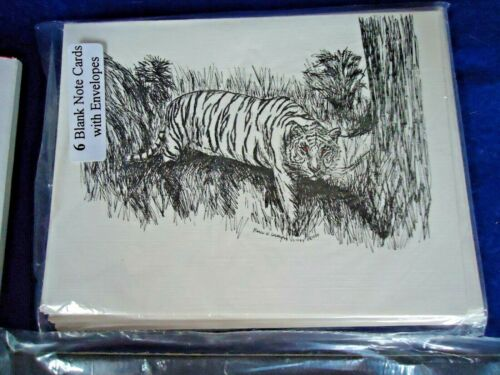 Tiger - 18 Blank Notecards and Linen Style Envelopes New