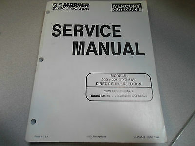 Mercury Mariner Outboards Service Manual 200 225 Optimax DFI 90-855348 Boat