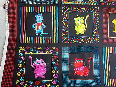 Loralie Cat Panel Cool Cats fabric colorful framed black dots stripe cotton   (Cool Dots)