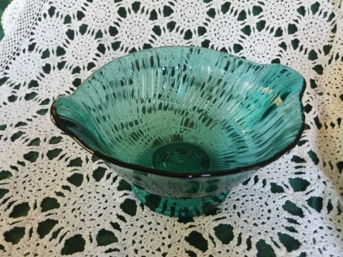 "Jeanette Glass Vintage Ultramarine Swirl 9"" Glass Bowl, Teal Colored"