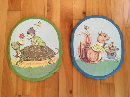 Pair Vintage Handcrafted Nursery Plaques Wood Pictures - Squirrel, Turtle, Frog
