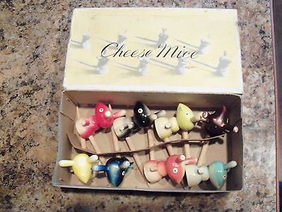 Set of 8 Vintage Wooden Cheese Mice w/Original Box