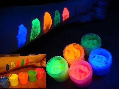 Body Glow Paint (UV body paint fluorescent neon glow radiant make-up 5 color set)