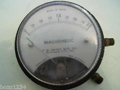 Vintage Dwyer Magnehelic Inches Of Water Zero Set Meter Pressure Gauge 4dia
