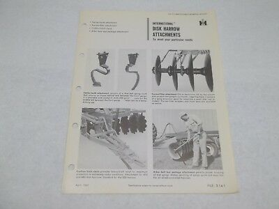 International Harvester Disk Harrow Attachments Sales Reference Brochure