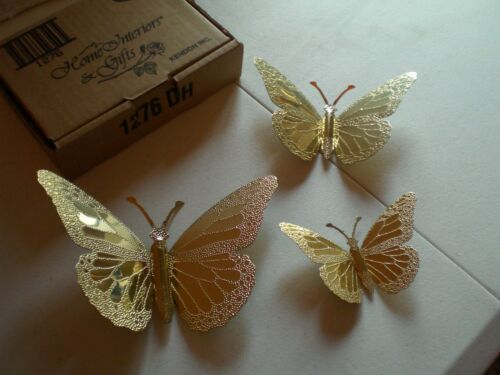 NEW in Box Vintage Brass Butterflies 3 Sizes Home Interiors Hammered Gold Tone