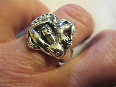 EROTIC WOMAN RING  Sizes 6-11  925 Sterling Silver,