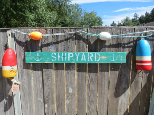48 INCH WOOD HAND PAINTED SHIPYARD & ANCHOR SIGN NAUTICAL SEAFOOD (#S825)