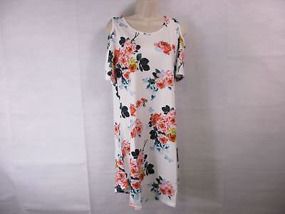 For G & PL Women's S Floral Cold-Shoulder T-Shirt Dress White NEW